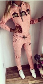 Pink Patchwork Monkey Print 2-in-1 Long Sleeve Long Jumpsuit