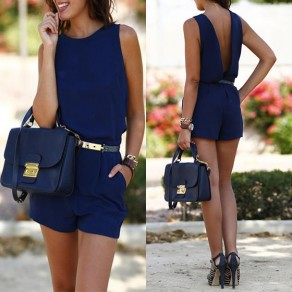 Blue Plain Cut Out Pockets Elastic Waist Mid-rise Short Jumpsuit