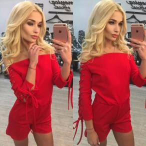 Red Plain Drawstring Bandeau Elastic Waist Short Jumpsuit