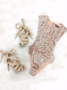 Rose Gold Sparkly Sequins Sleeveless Swimwear Leotard Bodysuit