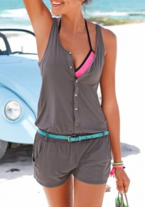 Grey Plain Single Breasted Pockets Fashion Short Jumpsuit