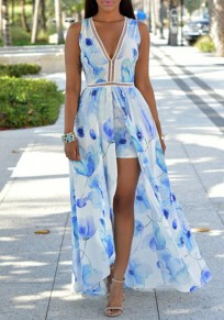 Light Blue Floral Print V-neck Plunging Neckline Backless Swallowtail Chiffon Romper Playsuit With Maxi Overlay