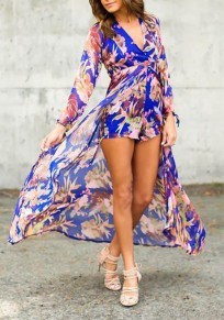 Blue Floral Irregular High-Low Swallowtail High Waisted Boho Long Sleeve Plus Size Short Chiffon Romper With Maxi Overlay
