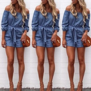 Blue Plain Belt Bow High Waisted Short Jumpsuit