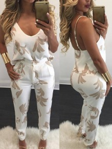 White Floral Pattern Button Fly Fashion Dacron Long Jumpsuit