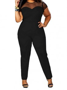 Black Patchwork Lace Short Sleeve Plus Size Casual Long Jumpsuit