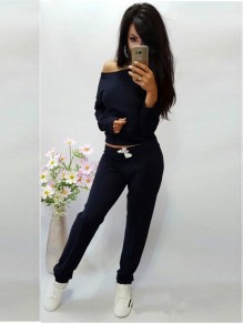 Black Plain 2-in-1 Drawstring Mid-rise Casual Long Jumpsuit
