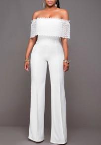 Combinaison large pantalons avec dentelle col bateau élégant pour mariage blanc femme