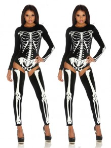 Black The Vampire Halloween Costumes Skeleton Ghost Bride The Queen Long Jumpsuit