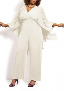 White Plain Cape Cloak Plus Size Prom Wide Leg Palazzo Jumpsuit