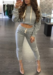 Grey Pockets Drawstring Two Piece Hooded Cropped Long Sleeve Bodycon Athleisure Long Tracksuit