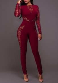 Burgundy Patchwork Lace Hollow-out See-through Bodysuit Sexy Clubwear Long Jumpsuit