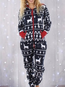 Navy Blue Geometric Christmas Deer Print Zipper Pocket Mid-rise Casual Long Jumpsuit