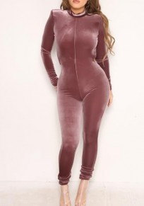 Purple Plain Zipper Backless High Waisted Fashion Long Jumpsuit