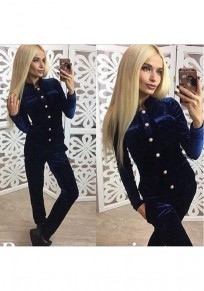 Blue Plain Single Breasted Pockets 2-in-1 Long Jumpsuit