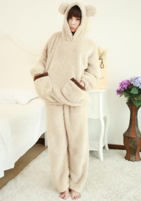Beige Patchwork Pockets 2-in-1 Cute Pajamas Long Jumpsuit
