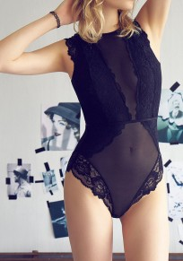 Black Patchwork Lace Grenadine Buttons Backless Short Jumpsuit