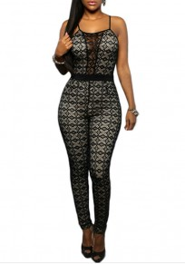 Black Geometric Print Lace Hollow-out See-through Spaghetti Straps Club Long Jumpsuit