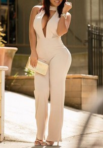 Beige Plain Cut Out Backless Cleavage Sexy Wide Leg Long Jumpsuit