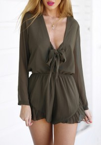 Army Green Plain Bow Ruffle High Waisted Short Jumpsuit