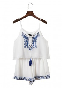 White Patchwork Embroidery Spaghetti Strap Draped Drawstring Casual Two Piece Short Jumpsuit