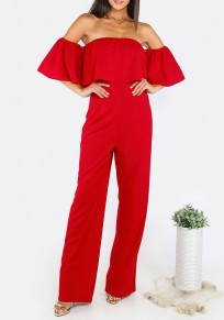 Red Plain Bandeau Ruffle High Waisted Sexy Long Jumpsuit