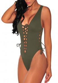 Green Plain Hollow-out Lace-up Backless Elastic Waist Deep V-neck Short Jumpsuit