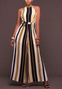 Yellow Striped High Waisted Fashion Loose Long Jumpsuit