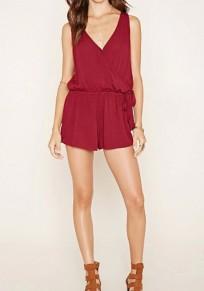 Combinaison shorts uni cordon v-cou sans manches mode rouge lie de vin
