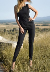 Black Plain Hollow-out Zipper High Waisted Fashion Long Jumpsuit