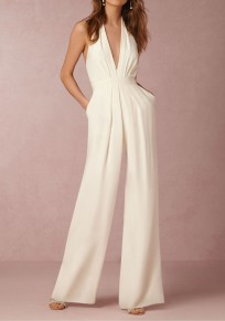 White Plain Irregular Sewing High Waisted Sexy Long Jumpsuit