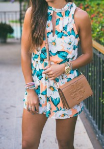 Green Floral Cut Out Elastic Waist Short Jumpsuit