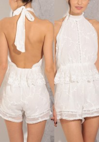 White Patchwork Lace Hollow-out Tie Back Peplum Backless Short Jumpsuit