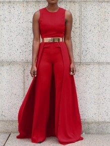 Red Plain Zipper Sleeveless High Waisted Long Jumpsuit With Maxi Overlay