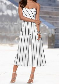 White-Black Striped Bandeau Zipper Off Shoulder Wide Leg Pants Seven's Jumpsuit