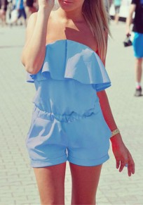 Light Blue Plain Bandeau Ruffle Pockets Short Jumpsuit