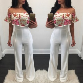 White Floral Embroidery High Waisted Fashion Long Jumpsuit