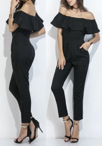 Black Plain Falbala Pockets Bandeau Off Shoulder Nine's Jumpsuit