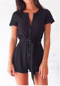 Black Plain Single Breasted Sashes Sewing High Waisted Short Jumpsuit