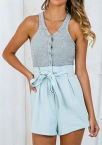 Light Blue Patchwork Buttons Belt Short Jumpsuit