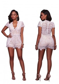 White Patchwork Lace High Waisted Short Jumpsuit