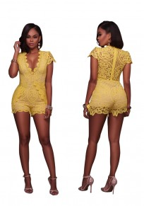 Yellow Patchwork Lace High Waisted Short Jumpsuit