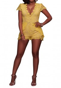 Yellow Floral Lace Cut Out Cap Sleeve Club Short Jumpsuit