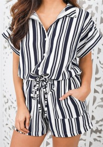 Black-White Striped Pockets Drawstring Single Breasted Fashion Short Jumpsuit