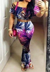 Multicolor Colorful Boat Neck Off-shoulder Two Piece High Waisted Long Jumpsuit