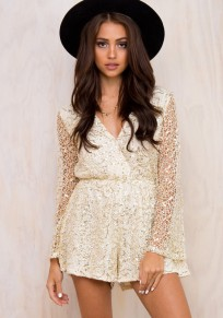 Beige Patchwork Hollow-out Lace Sequin Short Jumpsuit