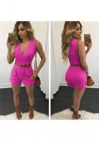 Rose Carmine Plain Pockets Belt High Waisted Fashion Short Jumpsuit