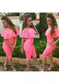 Pink Plain Ruffle Elastic Waist Fashion Long Jumpsuit
