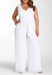 White Plain Sashes Cleavage High Waisted Plus Size Wide Leg Long Jumpsuit