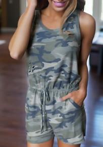 Shorts combinaison camouflage ajouré cordon col rond sans manches décontracté vert armée
